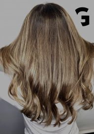 Golden balayage hair painting