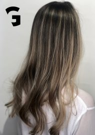 Soft hash blonde highlights balayage