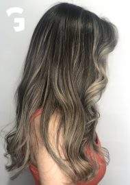 ashy blonde balayage on natural brown hair