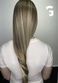 blonde blended babylights on long hair
