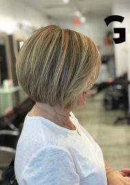 bob hair cut and blonde balayage