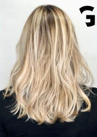 sun kiss blonde balayage on a natural base color