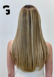 blonde silky long hair