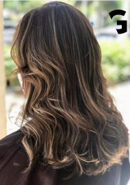 soft honey balayage highlights on a brunette
